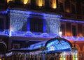 Новогоднее украшение дома, световое оформление витрин, фасадов, зданий